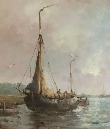 Fishing Boats Returning to Shore - Antique Oil Painting