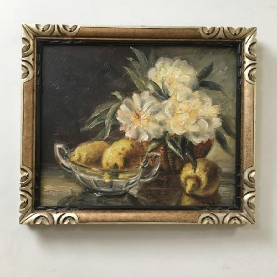Flowers and Fruit - Antique Oil Painting