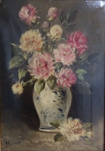 Flowers in a Vase - 19th Century Oil Painting