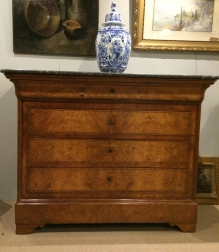French Burr Walnut Commode - 19th Century