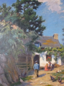 French Farmyard - 19th Century Oil Painting