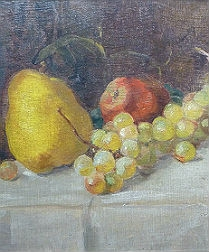 French Still Life - Apple, Pear and Grapes