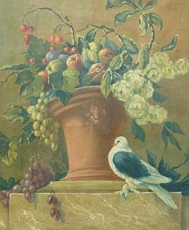 Fruit, Flowers and a Pigeon - Antique Oil Painting
