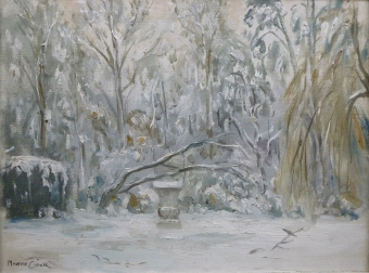 Garden in the Snow - Oil Painting