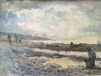 Gathering Mussels - Antique Watercolour