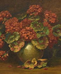 Geraniums - Antique Oil Painting