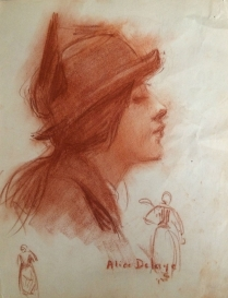 Girl in a Hat - French Drawing/Sanguine