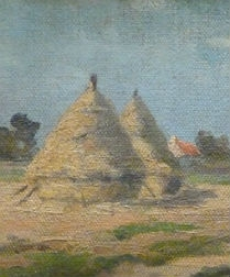 Hay Ricks in a Summer Landscape - Antique Oil Painting
