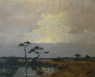 Heathland in Autumn - Antique Oil Painting