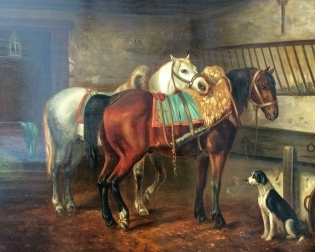 Horses in a Stall - 19th Century Oil Painting