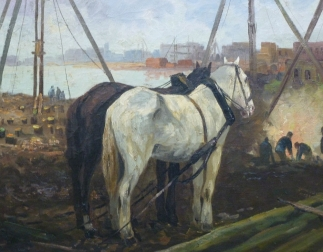 Horses in an Industrial Port
