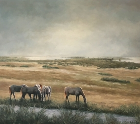 Horses of the Camargue - Oil Painting