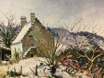 House in the Snow - Antique Oil Painting
