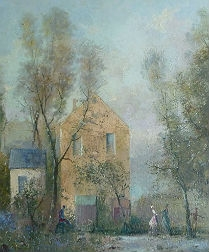 House in the Woods - Antique Oil Painting