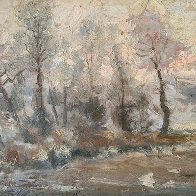 Impressionist Winter Landscape - Antique Oil Painting