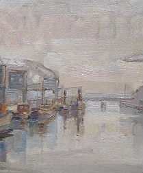 Industrial Port - Antique Oil Painting
