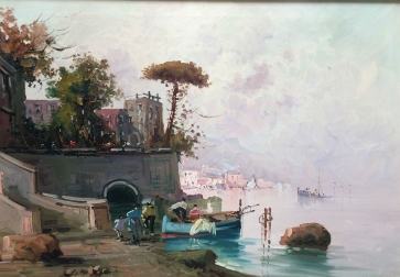 Italian Fishing Port - Antique Oil Painting