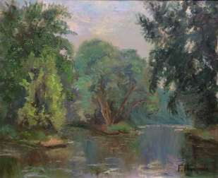 Lake in Summer - Antique Oil Painting