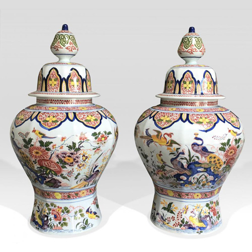 Large Covered Vases - Faience Boch