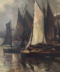 Large Marine - Belgium School - Oil Painting