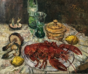 Lobster and Mushrooms - Oil Painting