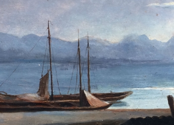 Mediterranean Port - 19th Century Oil Painting