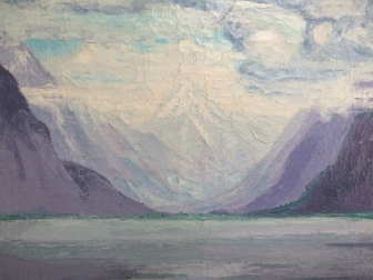 Mountain Lake - Antique Oil Painting