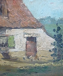 Oil Painting of Farm and its Courtyard c 1930/1950