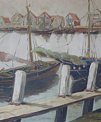 Oil Painting of Fishing Port In Holland signed by PH Vrijghem