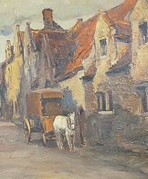 Oil Painting of French/Belgium Village Scene c 1920