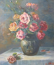 Oil Painting of Roses in Vase signed by Paul Wolf