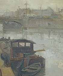 "Original Oil Painting ""Peniche Le Quai"" c 1930 by Marcel Kenes"