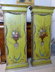 Pair of 18th Century French Painted Columns