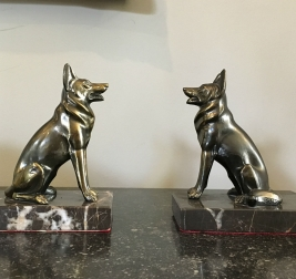 Pair of Art Deco Alsation Bookends