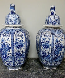 Pair of Delft Vases - 19th Century
