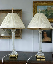 Pair of Glass Column Lamps with Silk Shades