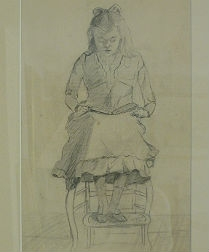 Pencil Drawing of a Young Girl Reading