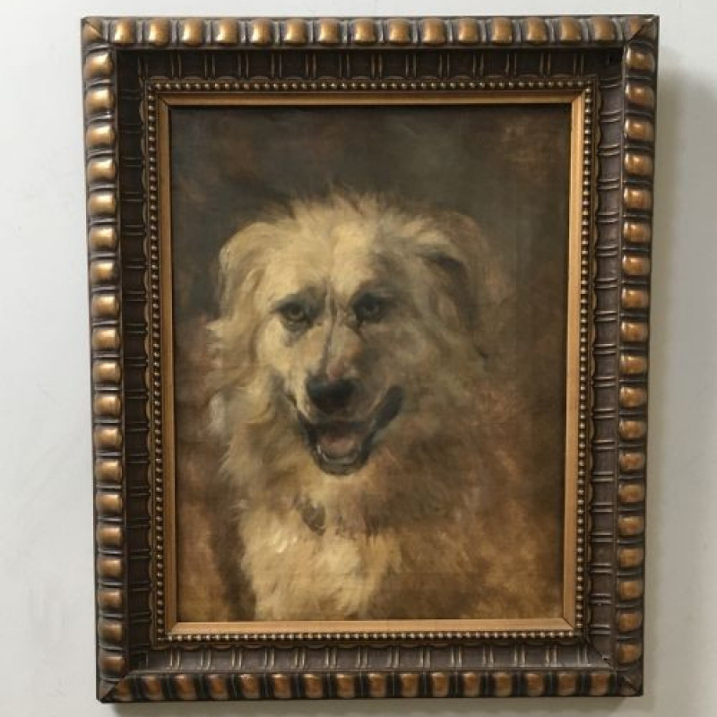Potrait of a Dog - Antique Oil Painting