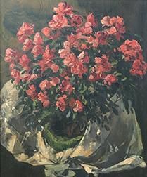 Red Flowers - Antique Oil Painting