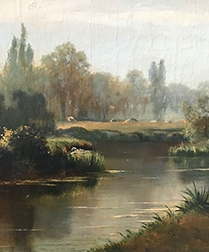 River Landscape - Antique Oil Painting
