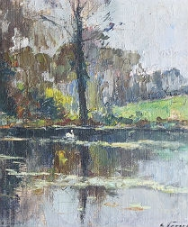 River Landscape with Swan