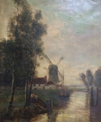 River Landscape with Windmill - Oil Painting