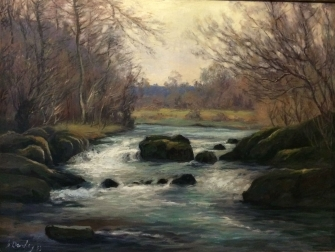 River Rapids - Antique Oil Painting