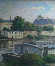 River Scene - French Antique Oil Painting