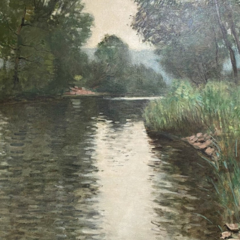 River View - Antique Oil Painting