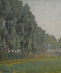Row of Poplars - Antique Oil Painting