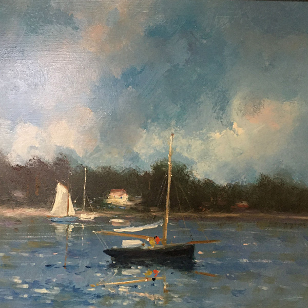 Sailing Boats - Antique oil Painting