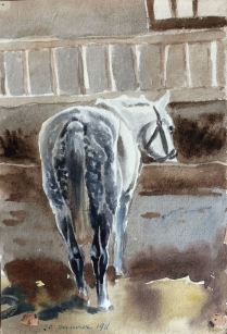 Set of Eight Watercolours of Horses in their Stalls