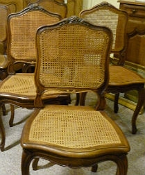 Set of Six French Cane Chairs