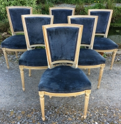 Set of Six French Painted Chairs